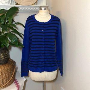 GAP Royal Blue Stripe Cardigan Sweater